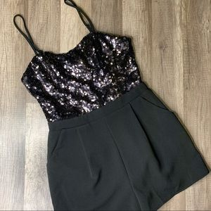 FOREVER 21 BLACK SEQUIN ROMPER NEW YEARS EVE NWT